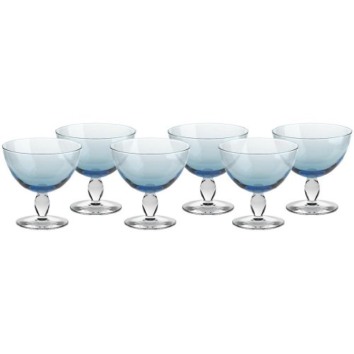 6er Set Eisschale Set Dessertschale Eisbecher Glas Mezzo Aquamarin 12 cm Gelato Vero