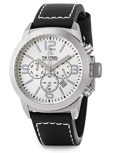 TW Steel edición Marc Coblen TWMC14 - Reloj cronómetro de pulsera con correa de piel de 42mm, color plateado/negro