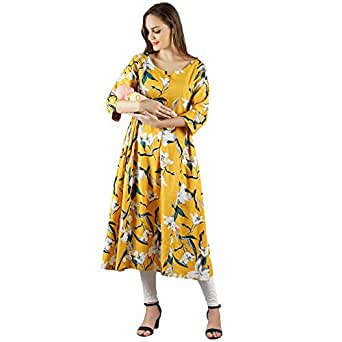 Diya Art Women's Cotton Flex Maternity Dress/A-Line Kurta/Nursing/Easy Feeding Kurti with Zip for Pre and Post Pregnancy