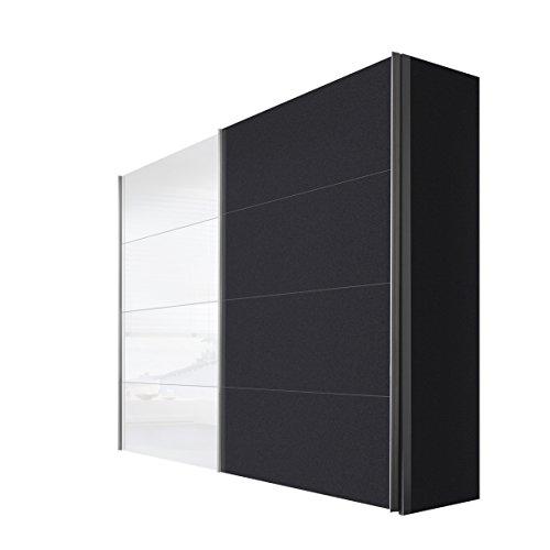 Express Möbel Schwebetürenschrank 2-türig mit Weißglas, Graphit Nachbildung, BxHxT 250x216x68 cm, Art Nr. 47350-971