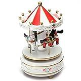 Carrousels - TOOGOO(R)Manege chevaux musical bois carrousel boite a musique jouet jeu pr enfant bebe bleu fonce