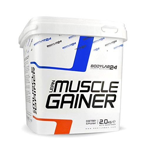 Bodylab24 Lean Muscle Gainer, hochwertige Kohlenhydrate zum Masseaufbau, Weight Gainer Pulver mit Eiweiß, Schokolade flavor, 2 kg