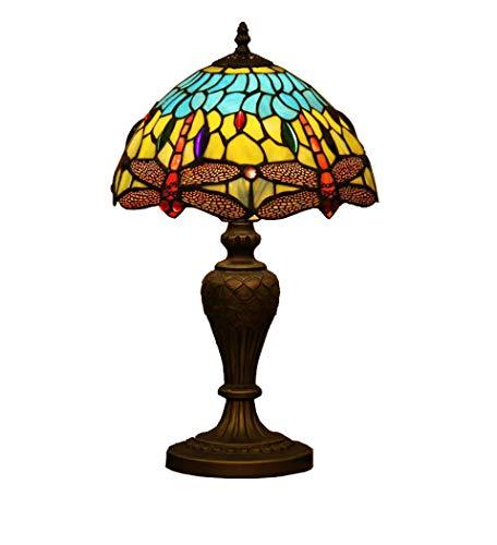 Lampe de Table de 12 Pouces, Lampe de Bureau/Lampe de Lecture de Style Tiffany, Lampe de Bureau Creativey Art Deco avec Base en Alliage de Zinc, Lampe de Table en Verre Teinté pour Chambre à Couche