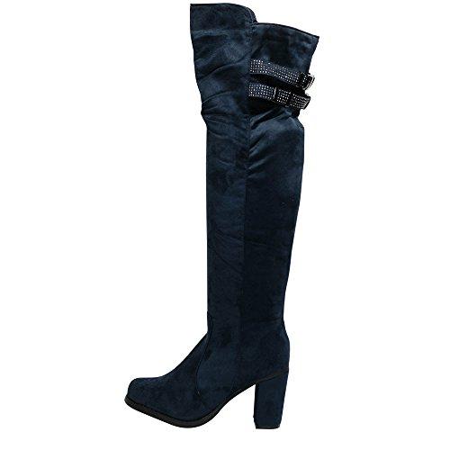 Damen Overknee Stiefel Boots Stiefeletten Glitzer HIgh Heels