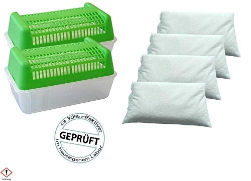 CAGO Luftentfeuchter Box rechteckig, grün - für Vliessbeutel - 2 Boxen + 4kg Granulat