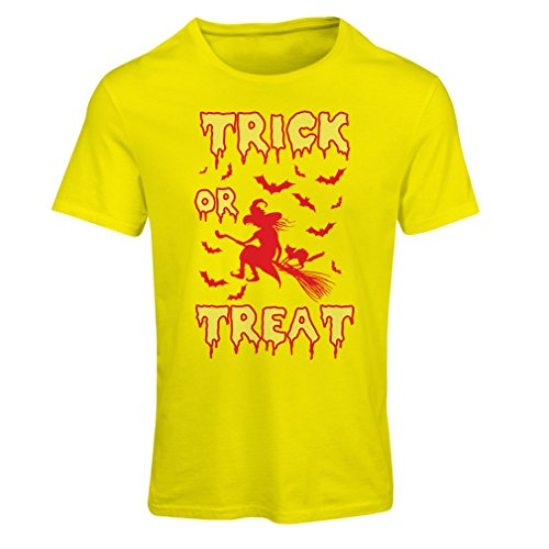 (Frauen T-Shirt Trick or Treat - Halloween Witch - Party outfites - Scary Costume (X-Large Gelb Mehrfarben))