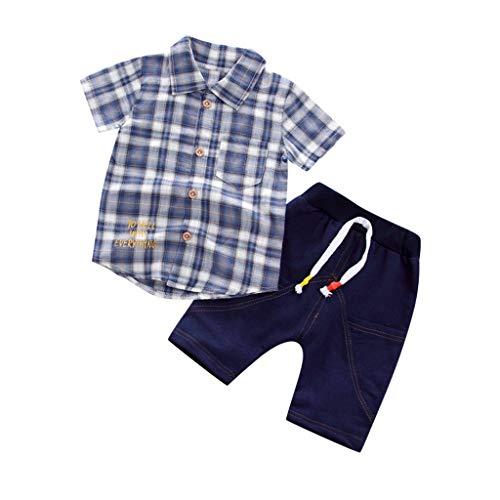 JUTOO Kleinkind Baby Boy Gentleman Plaid Kurzarmhemd + Denim Shorts Sets Kleidung (Blau 3,110 ()