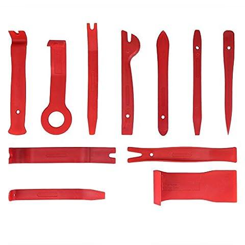 Innen-Verkleidung,Zierleistenkeile Set,Soyion Auto Werkzeuge Reparatur Set Demontage für Türverkleidungs Lösewerkzeug,11 tlg(Rot)