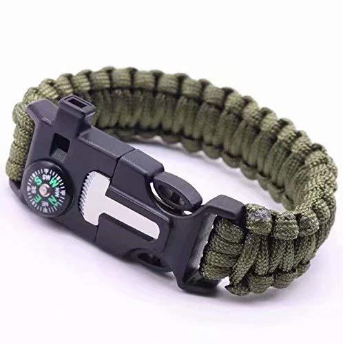 Imagen de linsung raspador pulsera con silbato paracord exterior sílex supervivencia army green