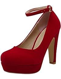 Azbro Mujer Zapatos de Tacón Alto Tacón Ancho Correa-Tobillo de Moda Sólido Plataforma