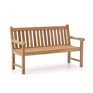 Sunyard Stabile Wales Gartenbank 3 Sitzer | Teakholz Gartenbank 150 cm | Aus unbehandeltem massivem Teakholz, Sitzbank für Garten oder Balkon | Wetterfest, pflegeleicht und klassisches Aussehen
