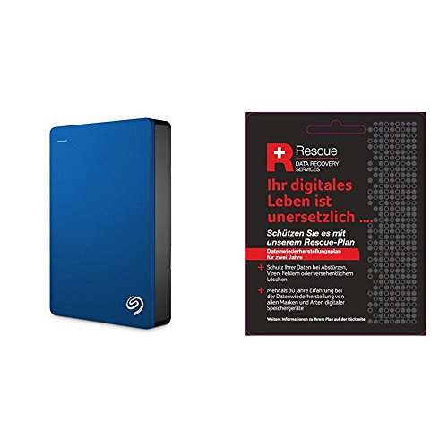 Seagate STDR5000202 Externe Tragbare Festplatte (inkl. Backup-Software, USB 3,0, PC, Mac und PS4 + STZZ794 Produktkarte mit Code zur Registrierung, Backup Plus 5 TB), Blau