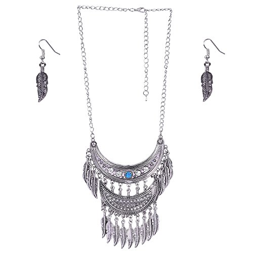 Aaishwarya Antique silver Half Moon designed Tassel Necklace Set For Women/Girls