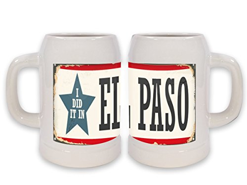 LEotiE SINCE 2004 Keramik Bierkrug Retro Metropole EL Paso USA Bedruckt