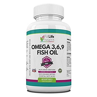 Omega 3,6,9 1000mg Softgel Capsules By Fit Life Health - Top Quality Fish Oil Diet Supplement For Men & Women - Essential Fatty Acids DHA And EPA Help To Support Joints, Muscles And Brain - Also Recommended For Heart Health And Vision Improvements - 60 Ca