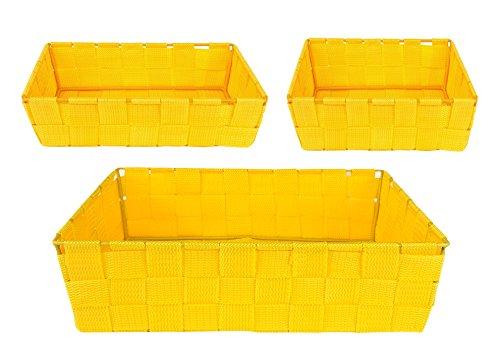 Kela Korb-Set ALVARO, 3-tlg. Aufbewahrungs-Set, gelb, geflochtenes PP-Faserband, 1x quadratischer Korb 190 x 190 x 60 mm + 2x rechteckige Körbe 230 x 150 x 60 mm + 295 x 205 x 90 mm, Ordnungshelfer (Küchenutensilien Gelb)