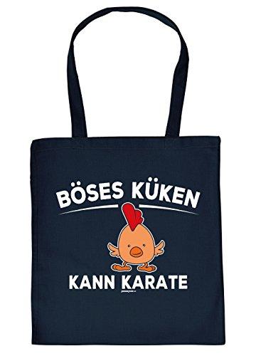 che - Baumwolltasche Osterhase - Geschenktasche Ostern : Böses Küken Kann Karate -- Deko Osternest - Tasche Ostern Farbe: Navyblau (Böse Osterhase)