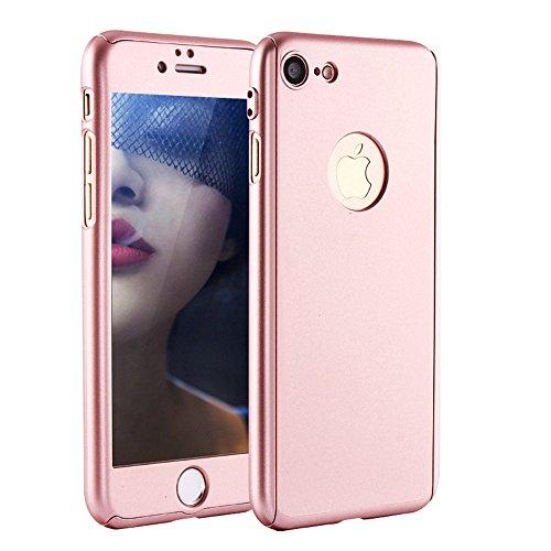 Funda iPhone 5 5s SE 360 Grados Integral Para Ambas Caras + Protector de Pantalla de Vidrio Templado,[ 360 ° ] [ Oro rosa ] Case / Cover / Carcasa iPhone 5 5s 5c SE (iPhone 5 5s SE 4.0inch, Oro rosa)