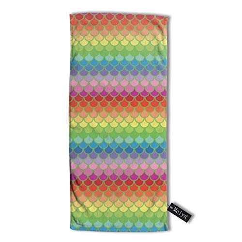 Pillowcase Wholesale Mermaids Rainbow Multi-Purpose Microfiber Towel Ultra Compact Super Absorbent and Fast Drying Sports Towel Travel Towel Beach Towel. - Athletic Striped Wrap