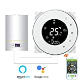 Termostato Inteligente para caldera de gas/agua,Termostato Calefaccion Wifi Pantalla LCD (pantalla TN) Botón táctil retroiluminado programable con Ale