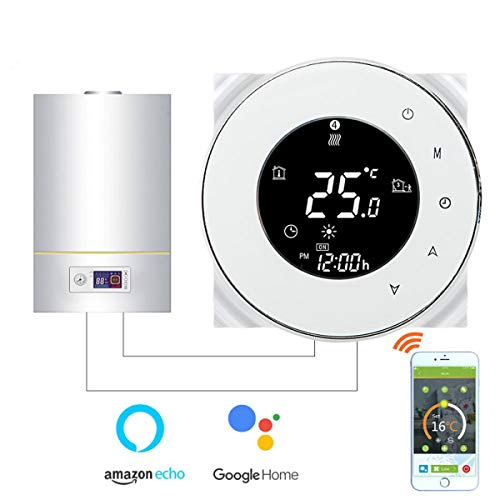 Thermostat WiFi pour chaudière gaz/eau,Thermostat intelligent Écran LCD Bouton tactile Rétro-éclairé programmable avec Alexa Google Home(NO google assistant) and Phone APP-White...
