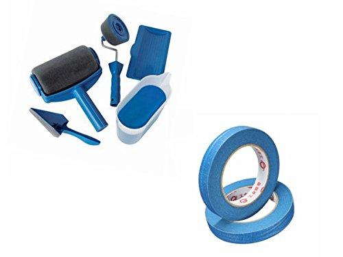 Rullo per pittura con serbatoio, mejoy rullo pennello a rullo da pittura, 5 pz/set +nastro adesivo per mascheratura, 50 m x 48 mm, blu