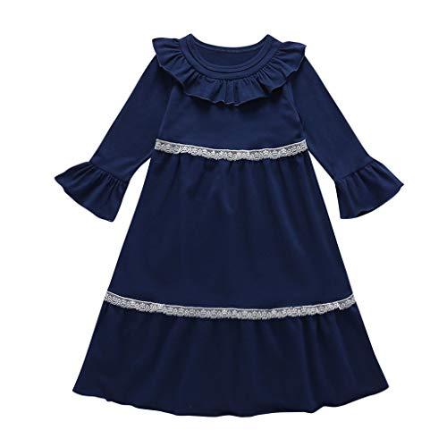 Kostüm Altes Zwei Monate - DIASTR Kleid für Mädchen Baby Langarm Kleider Streifen rüschen Prinzessin einteiliges Kleid Herbst Kleidung für 0-24 Monate 2-7Jahre alt