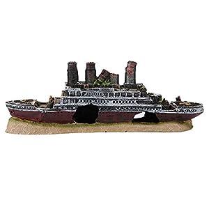 Pssopp Aquarium Shipwreck Decorations Resin Titanic Lost Wrecked Boat Ship Sunken Ship Decorations Aquarium Landscaping Decoration Fish Tank Ornament Pet Habitat Décor