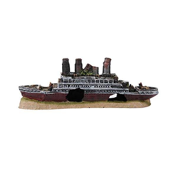 Pssopp Aquarium Shipwreck Decorations Resin Titanic Lost Wrecked Boat Ship Sunken Ship Decorations Aquarium Landscaping…