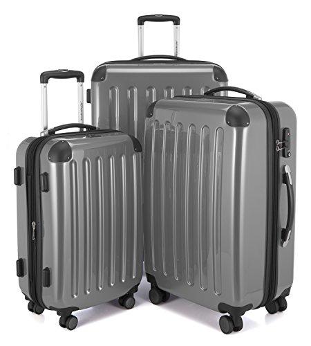 HAUPTSTADTKOFFER - Alex - NEU 4 Doppel-Rollen 3er Koffer-Set Trolley-Set Rollkoffer Reisekoffer, TSA, (S, M & L), Silber