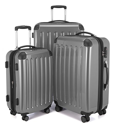 HAUPTSTADTKOFFER - Alex -  4 Doppel-Rollen 3er Koffer-Set Trolley-Set Rollkoffer Reisekoffer, TSA, (S, M & L), Silber