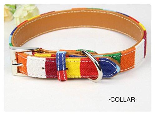Maycong Hunde Geschirre Multi-Streifen Bunte Canvas PU Kleines Hundehalsband (S)