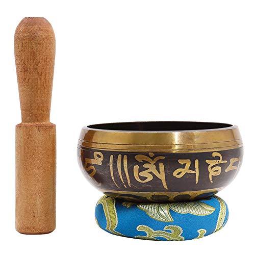 Asolym Tibetisches Klangschalenset, Meditation Sound Bowl Handcrafted in Nepal Mit Schlägel Und Baumwollkissen Yoga Klangschale Für Meditation, Klärung Von Chakren Und Energieheilung 8 cm Bowl