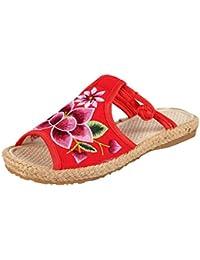 iHAZA- Zapatos Boda Vintage Sandalias de Mujer Zapatillas Bordadas Boca de Pescado Zapatos de Tela
