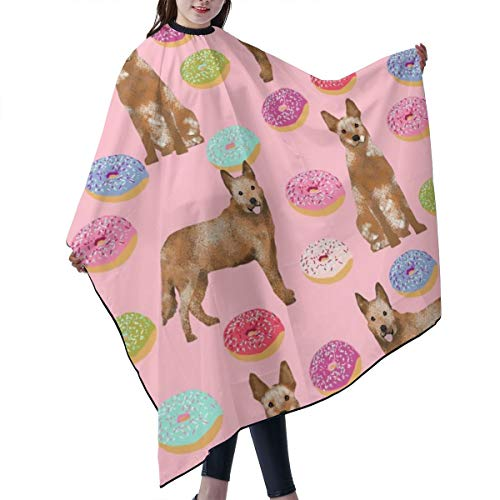 Barber Cape,Australian Cattle Dog Donuts Donuts, Dog Donut, Food, Cute Dog, Pet Friendly Red Heeler Pink Salon Polyester Cape Haircut Apron 55