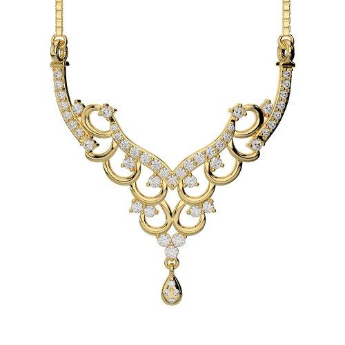 Or blanc/or jaune/Platine Diamant Collier avec chaîne dnc-2223-vsgh