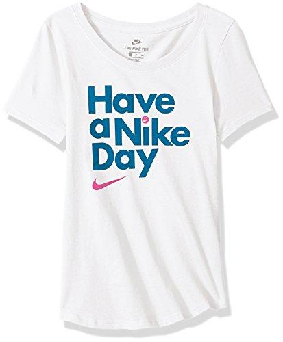 Green Day Kinder T-shirts (Nike Sportswear Mädchen haben eine Tag Scoop Tee, Mädchen, NSW Have A Day Scoop Tee, White/Green Abyss, Small)