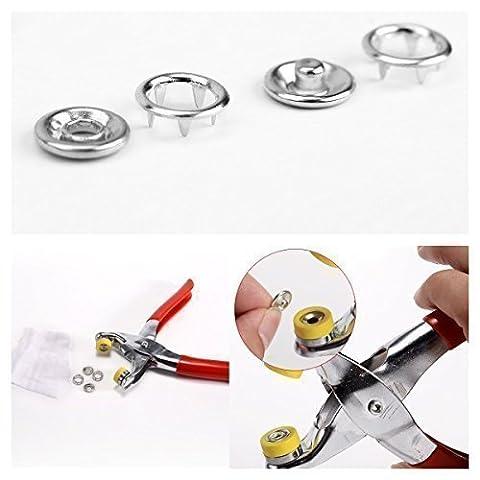 100pcs Snap boutons-pression avec bouton de pinces à anneaux ultraconfortables Clous 9,5mm par Mariage