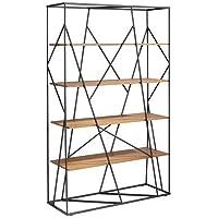 Crespo Decoración Estantería 4 estantes de Madera y Estructura metálica Negro Mate 110 x 40 x 180h. cm. Modelo PONLONDON