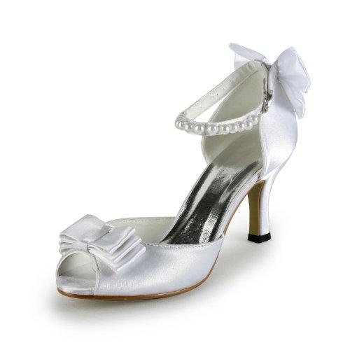 Minitoo TH12126 Damen Peep Toe Ankle Strap Abstech Satin Abend Hochzeit Kleid mit Schleife Sandalen Elfenbein