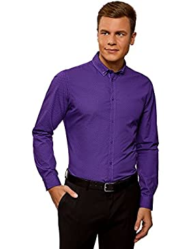 oodji Ultra Uomo Camicia Slim Fit con Colletto Doppio