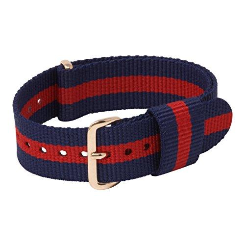 Herren-uhren-elastisches Band (18mm Uhrenarmband NATO Nylon für Damen-Uhren Herren-Uhren gestreift | Edelstahl-Dornschliesse Textil-Schlaufe Ersatzarmband | GOLD | BLAU-ROT)