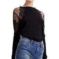 Luckycat Mujer Cuello Alto Transparente Mangas Largas Camiseta Blusa Elegante Moda Oficina Casual Color sólido