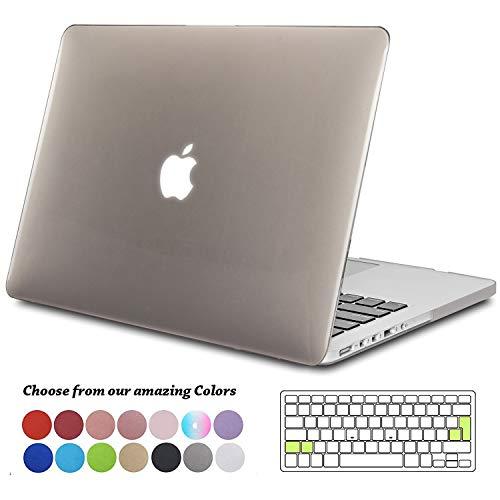 TECOOL MacBook Pro 13 Retina Hülle, Slim Case Plastik Hartschale Schutzhülle Snap Cover mit Transparente Tastaturschutz für Apple MacBook Pro 13,3 Zoll Modell:A1425 / A1502 -Kristall Grau (Macbook Pro 2012 Tastatur-abdeckung)