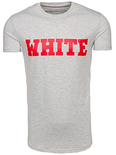 BOLF Herren T-Shirt Tee Kurzarm Rundhals Classic Aufdruck Print Motiv MIX Grau_S079