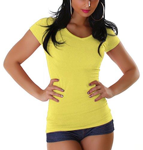 Jela London Damen T-Shirt lang Longshirt Basic eng-anliegend einfarbig V-Ausschnitt Kurzarm, Gelb 38 (XL) (Türkis Gelb)