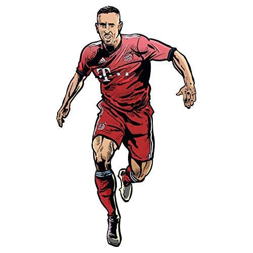 Wandsticker FC Bayern Comic Spieler Franck Ribéry München Bundesliga Fußball Sport Verein Mannschaft Mittelfeld Trikot Illustration Wall-Art