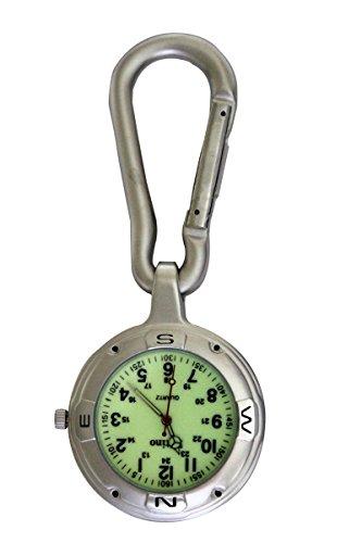 Entino-Marke Silber-Clip auf Karabiner mit leuchtenden Gesicht FOB Uhr für Ärzte Krankenschwestern Sanitäter Köche zusätzliche Batterie Damen-uhren Mit Dunklem Gesicht