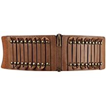 Damen Elastischer 7,7 cm Gürtel mit Goldschnalle Retro Altmodischer Stil Taille Band Gürtel