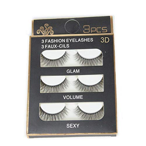 3 Pairs Imported Fiber 3D False Eye lashes Handmade Reusable Long Cross Makeup Natural 3D Fake Thick Black EyeLashes